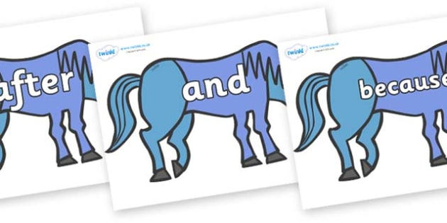 Connectives on Blue Horse to Support Teaching on Brown Bear, Brown Bear - Connectives, VCOP, connective resources, connectives display words, connective displays