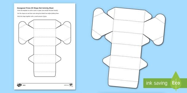 Hexagonal Prism 3d Shape Net Activity Sheet