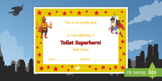 photograph relating to Superhero Certificate Printable titled Cost-free! - Lavatory Superhero Certification - rest room superhero