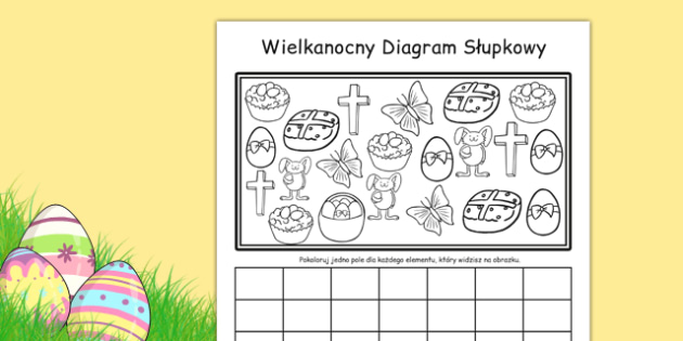 Arkusz Wielkanocny diagram słupkowy po polsku - matematyka, worksheet