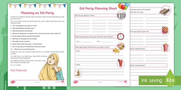 eid party planning worksheet activity sheet eid al fitr