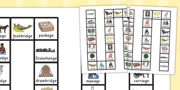 Two Syllable Final 'J' Sound Board Game - final j, sound, board game