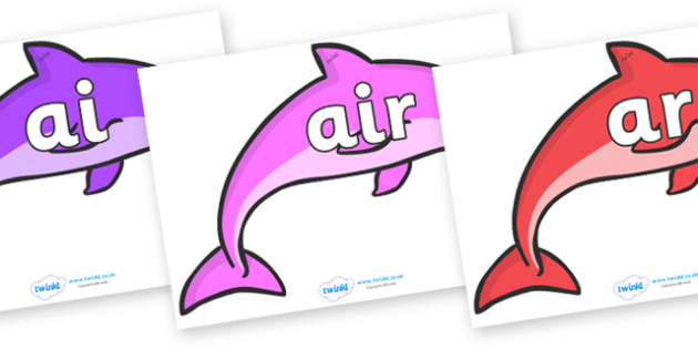 Phase 3 Phonemes on Dolphins - Phonemes, phoneme, Phase 3, Phase three, Foundation, Literacy, Letters and Sounds, DfES, display