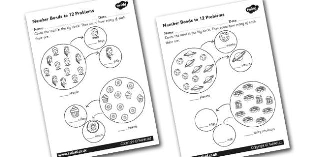 Number Bonds to 12 Problems Worksheet -numbers, bond, worksheet
