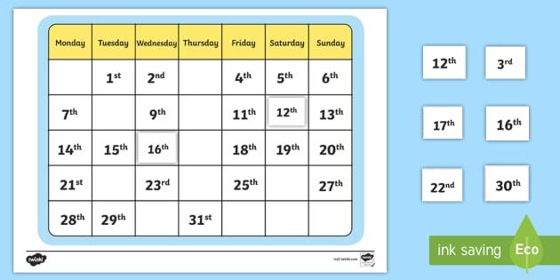 Calendar Missing Ordinal Number Worksheet / Worksheet - Calendar Missing