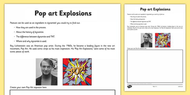 Pop Art Explosions Activity Sheet - pop art, roy lichenstien, worksheet