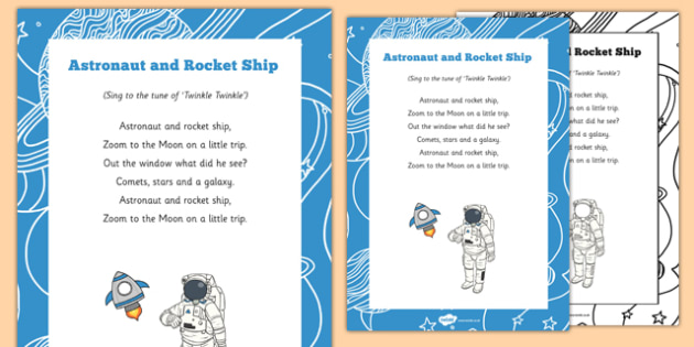 Astronaut And Rocket Ship Song - Space travel, space, rhyme, twinkle