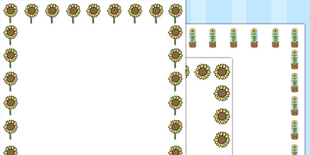 Sunflower Page Borders - Sunflower, sunflowers, Page border, border, writing Borders, plant, seed, flower, stem, knowledge and understanding of the world