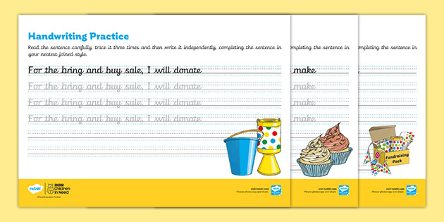 KS2 BBC Children in Need Continuous Cursive Handwriting Practice Worksheets