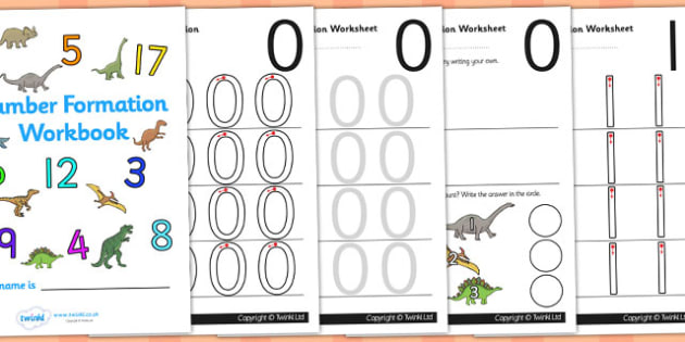 Dinosaur Themed 0-9 Number Formation Workbook - number formation workbook, dinosaurs, number writing practise sheets, writing, dinosaur number practise, overwriting