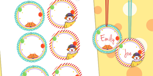 Circus Themed Birthday Party Name Tags - parties, role play, prop