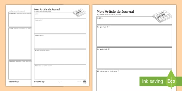 French Newspaper Article Planning And Writing Template