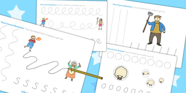 The Boy Who Cried Wolf Pencil Control Sheets - aesops fables