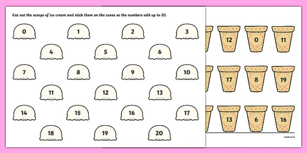 Ice Cream Number Bonds to 20 Activity Sheet - ice cream, number bonds, 20, activity, worksheet