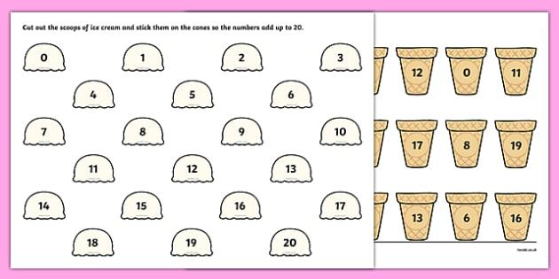 Ice Cream Number Bonds to 20 Worksheet / Activity Sheet - ice