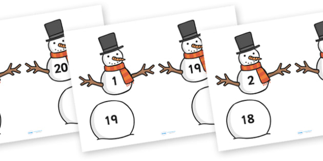 Snowman Number Bonds to Twenty - snowman, number bonds, number bonds to twenty, numbers, numeracy, number activities, number games, addition, adding, plus