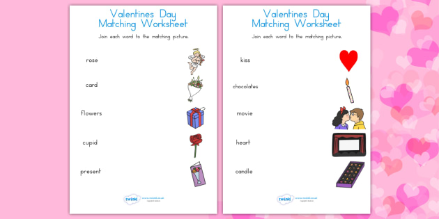 Valentines Day Word and Pictures Matching Worksheet - valentines