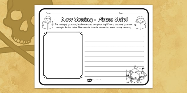 New Setting Pirate Ship Comprehension Worksheet - new setting, pirate ship, comprehension, comprehension worksheet, character, discussion prompt, reading