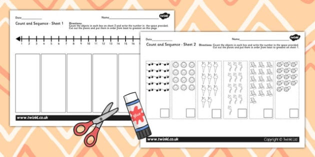 Summer Themed Count and Sequence Cut an Stick Activity - counting
