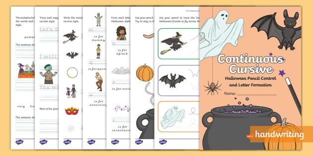 new halloween pencil control letter formation continuous cursive. Black Bedroom Furniture Sets. Home Design Ideas