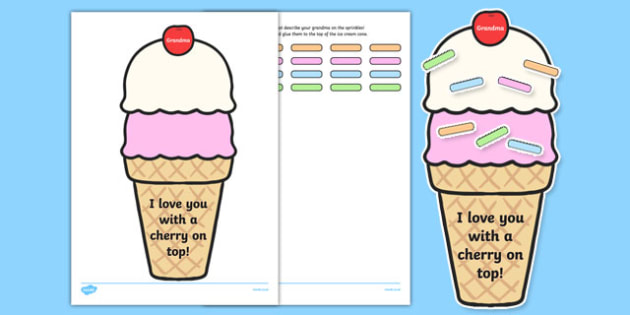 Grandma I Love You with a Cherry on Top Worksheet / Activity Sheet, worksheet