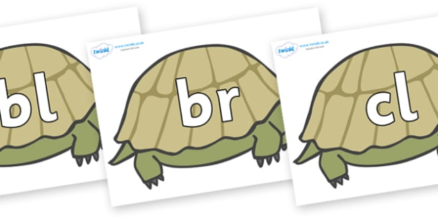 Initial Letter Blends on Tortoises - Initial Letters, initial letter, letter blend, letter blends, consonant, consonants, digraph, trigraph, literacy, alphabet, letters, foundation stage literacy