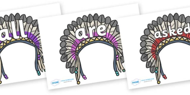 Tricky Words on Headdresses - Tricky words, DfES Letters and Sounds, Letters and sounds, display, words