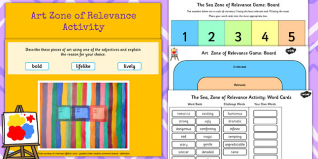 Zone of Relevance Art Describing Lesson Teaching Pack - artists