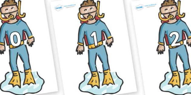 Numbers 0-50 on Divers - 0-50, foundation stage numeracy, Number recognition, Number flashcards, counting, number frieze, Display numbers, number posters