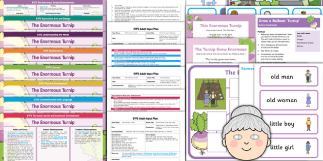 EYFS The Enormous Turnip Lesson Plan Enhancement Ideas and Resources Pack - planning, Early Years, continuous provision, early years planning, adult led, fairy tales, traditional tales, vegetables
