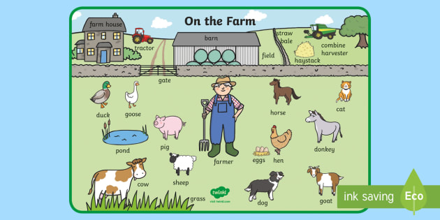 On the Farm Scene Word Mat - on the farm, on the farm word mat, on the farm key words, on the farm scene, on the farm topic word mat, farm key words