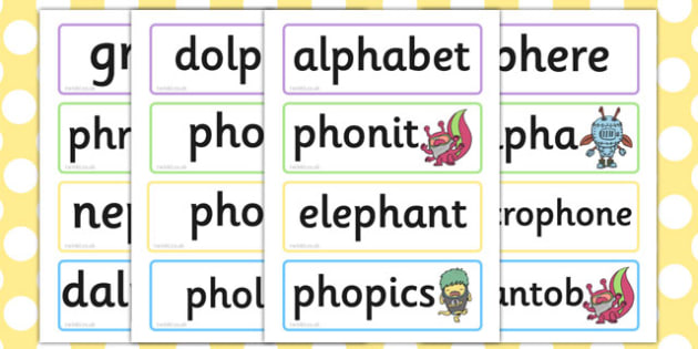 Phase 5 'ph' Flashcards Real and Nonsense Words - phase 5, flashcards