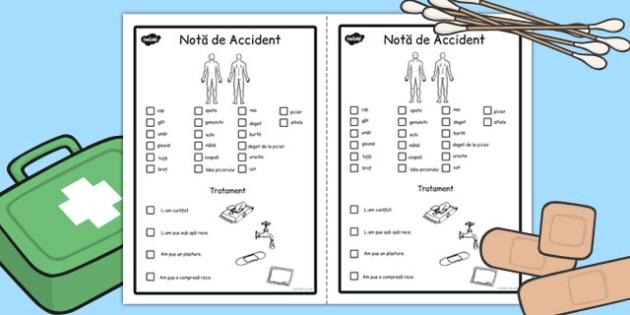 Nota in caz de Accident - instiintare, parinti, accident scoala, Romanian