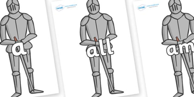 Foundation Stage 2 Keywords on Suits of Armour - FS2, CLL, keywords, Communication language and literacy,  Display, Key words, high frequency words, foundation stage literacy, DfES Letters and Sounds, Letters and Sounds, spelling