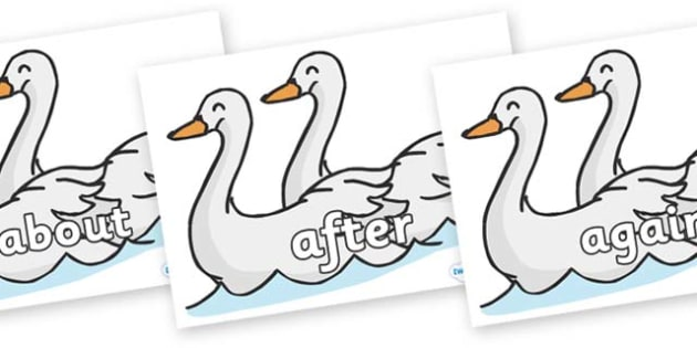 KS1 Keywords on Swans - KS1, CLL, Communication language and literacy, Display, Key words, high frequency words, foundation stage literacy, DfES Letters and Sounds, Letters and Sounds, spelling