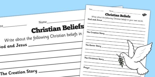 Christian Beliefs Differentiated Worksheets - worksheet, beliefs