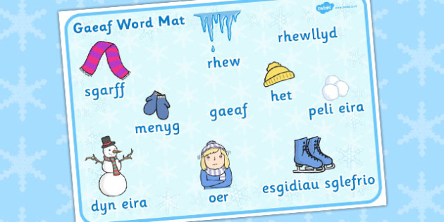 Mat Geiriau 'Y Gaeaf' - winter, welsh, translation