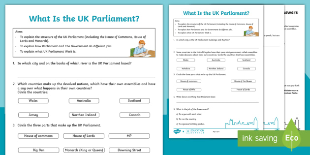 UK Parliament: What is Parliament? Worksheet - House Of ...