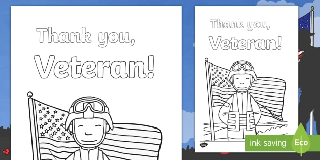 Veterans Day Thank You Coloring Page Veteran Veterans