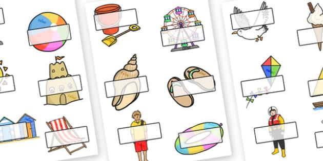 Editable Self Registration Labels (Seaside) - Sea, seaside, display, editable, label, topic, water, tide, waves, sand, beach, sea, sun, holiday, coast