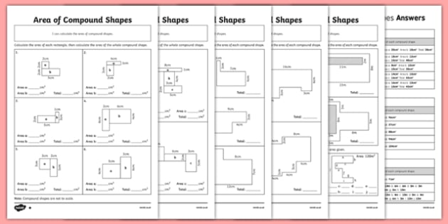 Area Of Compound Shapes Differentiated Worksheet Pack