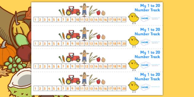 Harvest Number Track (1-20) - Harvest, Maths, Math, number track, numbertrack, Counting, Numberline, Number line, Counting on, Counting back, harvest festival, fruit, apple, pear, orange, wheat, bread, grain, leaves, conker