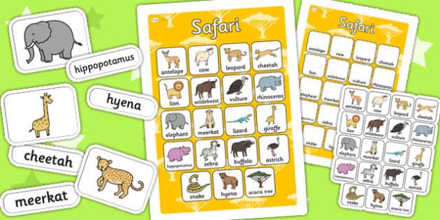 Safari Vocabulary Poster Mat - jungle, vocab poster, animals