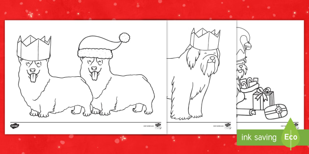 christmas dogs colouring pages ks1 key stage one animal festive themed