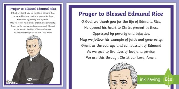 Prayer to Blessed Edmund Rice Display Poster - Edmund Rice, Blessed Edmund Rice, Christian Brothers