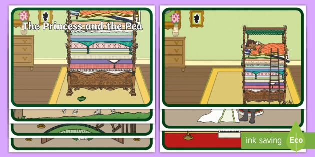 The Princess and the Pea Story Sequencing (Speech Bubbles) - The Princess and the Pea, sequencing, prince, queen, princess, pea, castle, fairytale, traditional tale, Hans Christian Andersen, story, story sequencing,