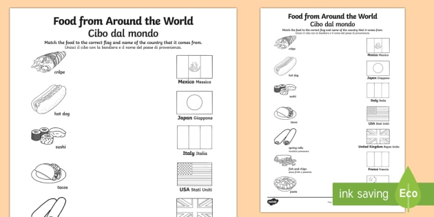Food from around the world matching worksheet activity sheet food from around the world matching worksheet activity sheet englishitalian food from ibookread Download