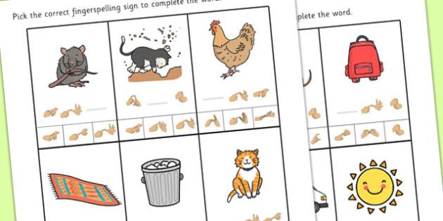 British Sign Language CVC Missing Sign Worksheet - cvc, worksheet