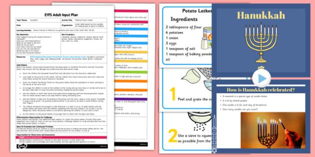 Making Potato Latkes EYFS Adult Input Plan and Resource Pack - adult led, latkes