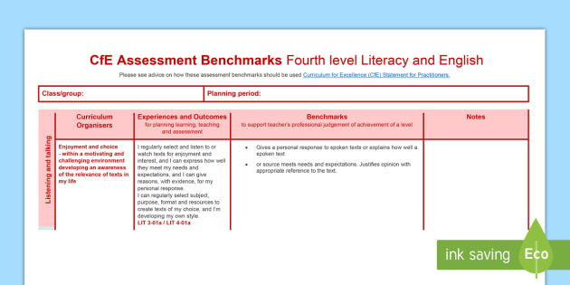 CfE Benchmarks Fourth Level Literacy and English Assessment Tracker-Scottish